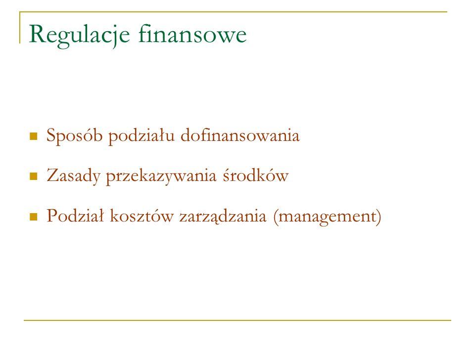 Regulacje finansowe Sposób podziału dofinansowania