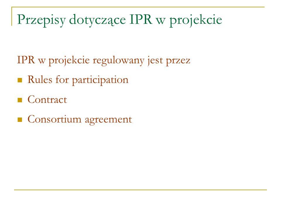 Przepisy dotyczące IPR w projekcie