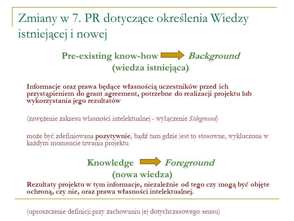 Zmiany w 7. PR dotyczące określenia Wiedzy istniejącej i nowej