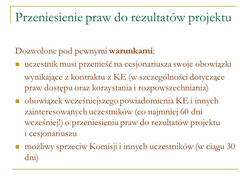 Przeniesienie praw do rezultatów projektu