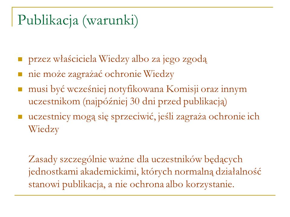 Publikacja (warunki) przez właściciela Wiedzy albo za jego zgodą