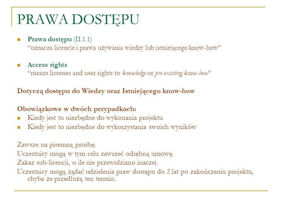PRAWA DOSTĘPU Dotyczą dostępu do Wiedzy oraz Istniejącego know-how