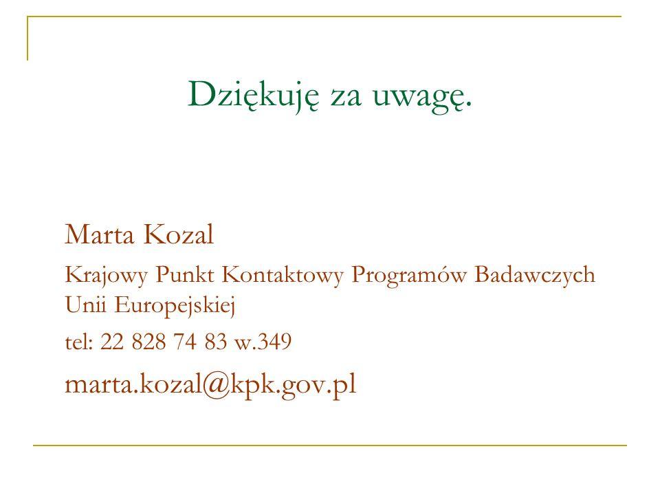 Dziękuję za uwagę. Marta Kozal marta.kozal@kpk.gov.pl