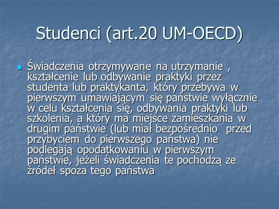 Studenci (art.20 UM-OECD)