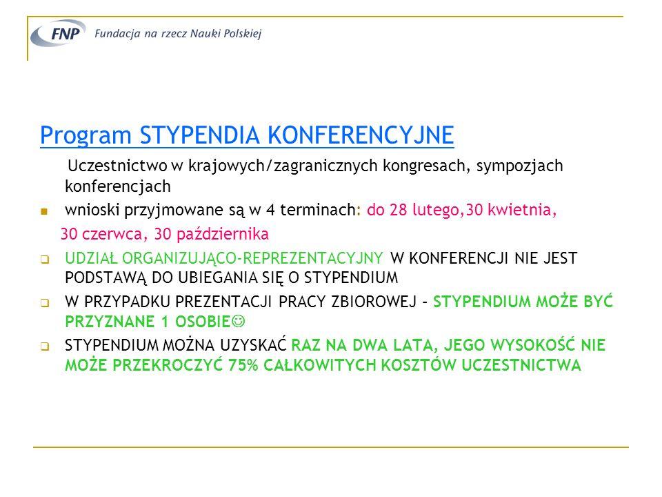 Program STYPENDIA KONFERENCYJNE