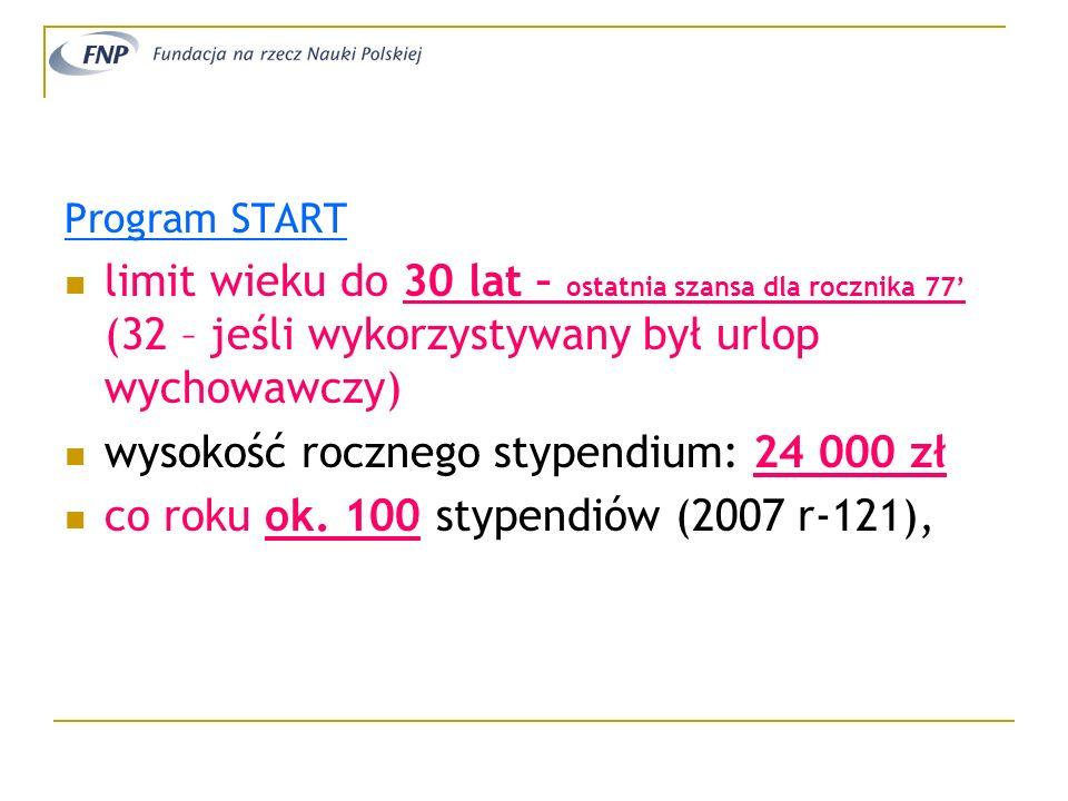 wysokość rocznego stypendium: 24 000 zł