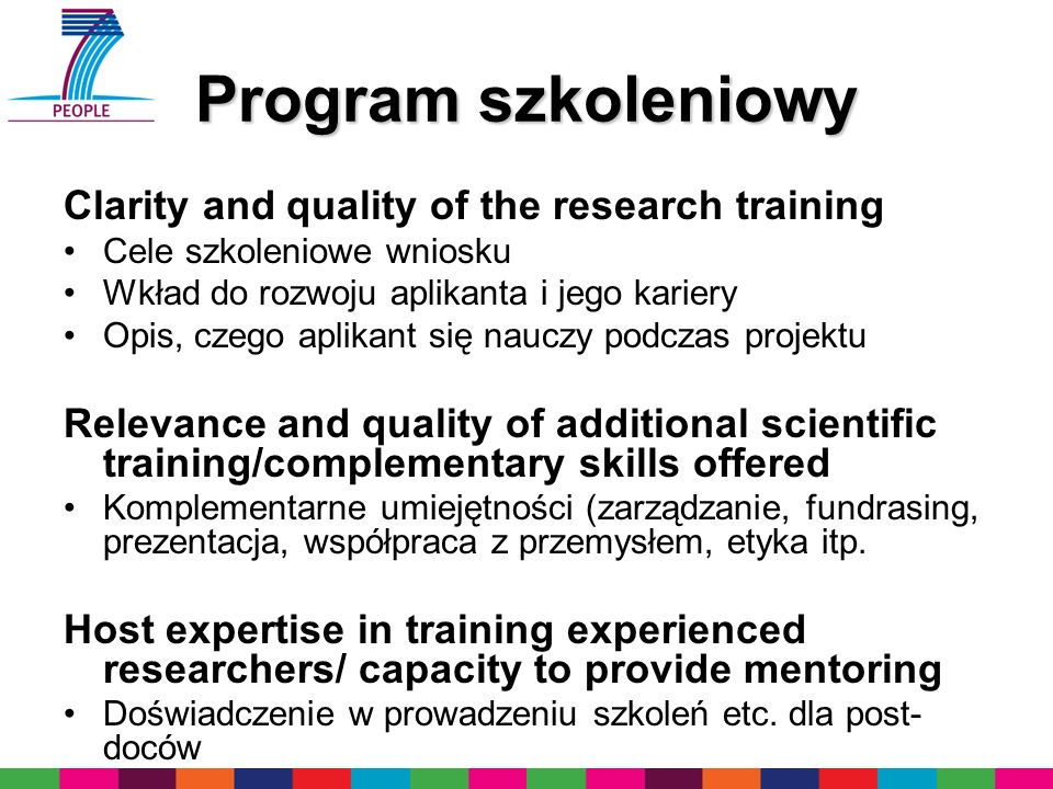 Program szkoleniowy Clarity and quality of the research training