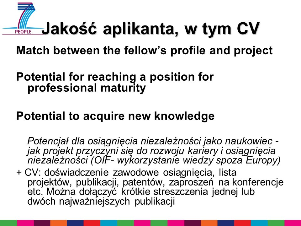 Jakość aplikanta, w tym CV