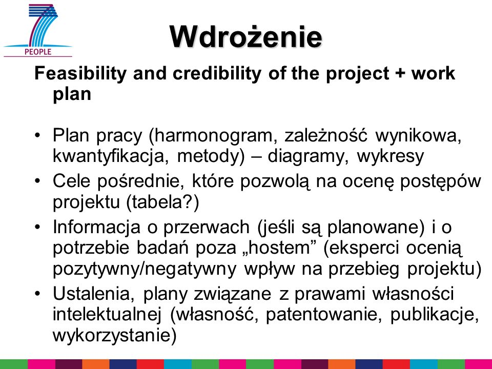 Wdrożenie Feasibility and credibility of the project + work plan