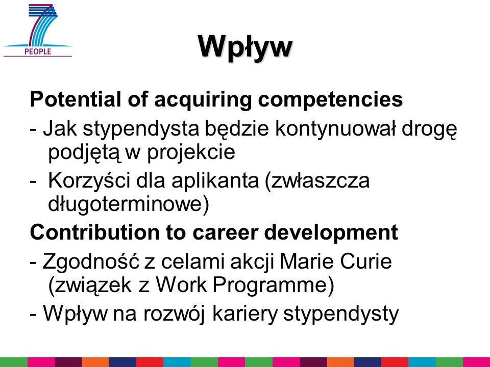 Wpływ Potential of acquiring competencies