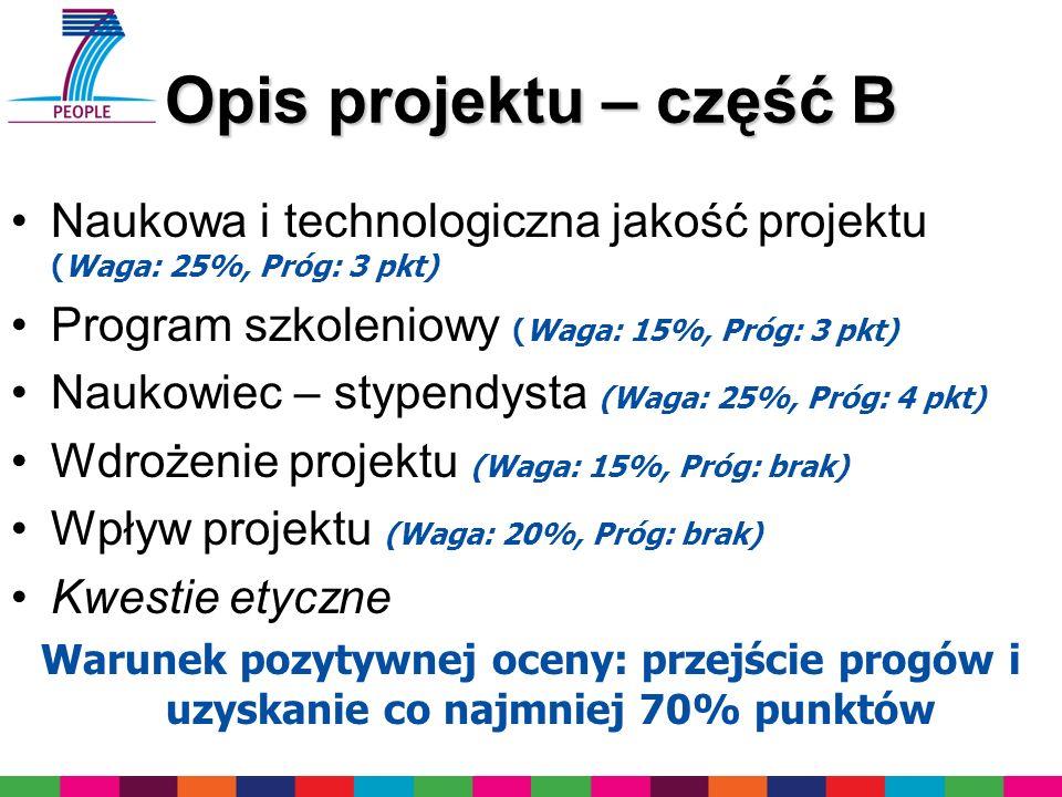 Opis projektu – część B Naukowa i technologiczna jakość projektu (Waga: 25%, Próg: 3 pkt) Program szkoleniowy (Waga: 15%, Próg: 3 pkt)