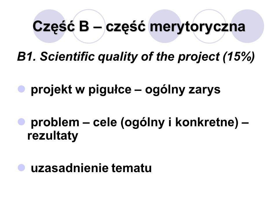 Część B – część merytoryczna