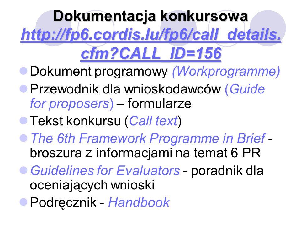 Dokumentacja konkursowa http://fp6. cordis. lu/fp6/call_details. cfm