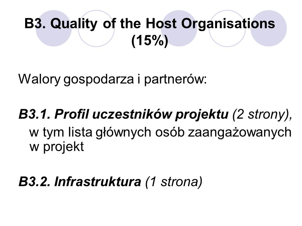 B3. Quality of the Host Organisations (15%)