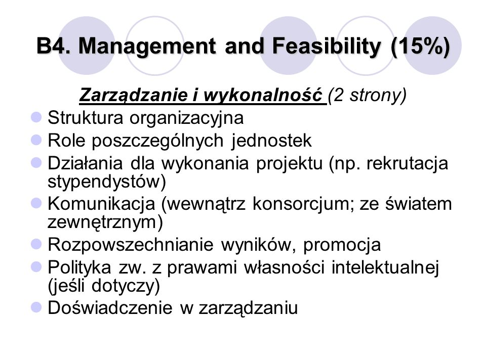 B4. Management and Feasibility (15%)