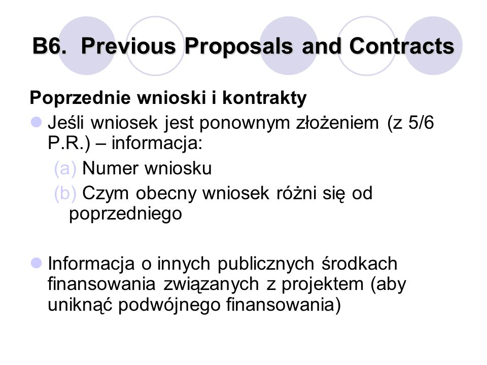 B6. Previous Proposals and Contracts