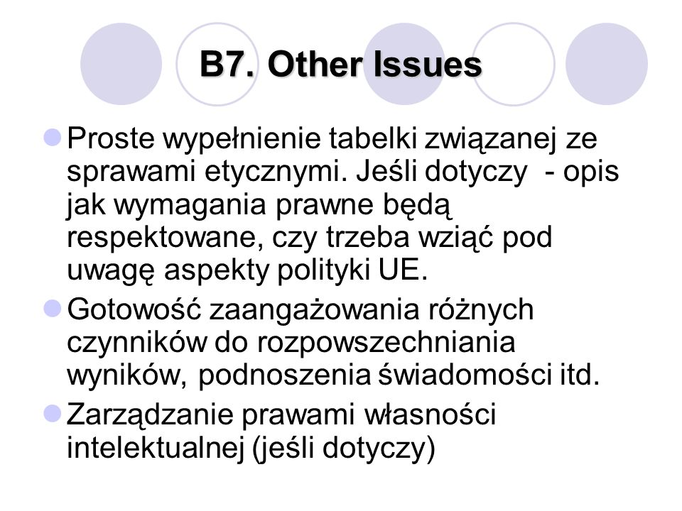B7. Other Issues
