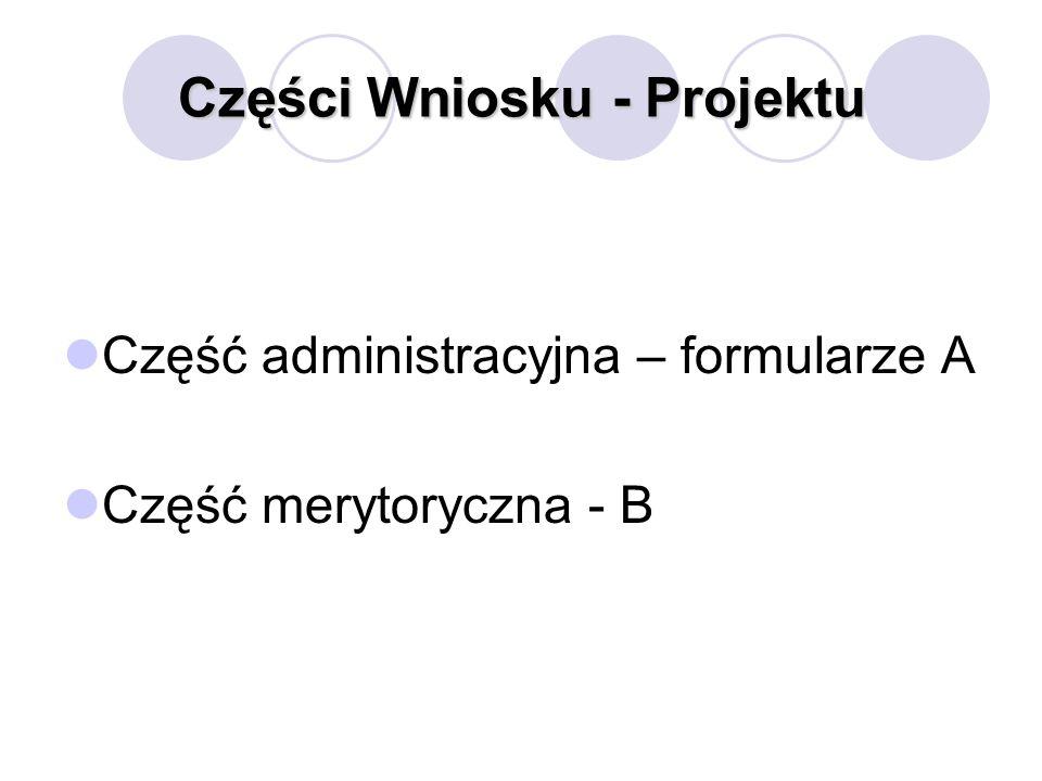 Części Wniosku - Projektu