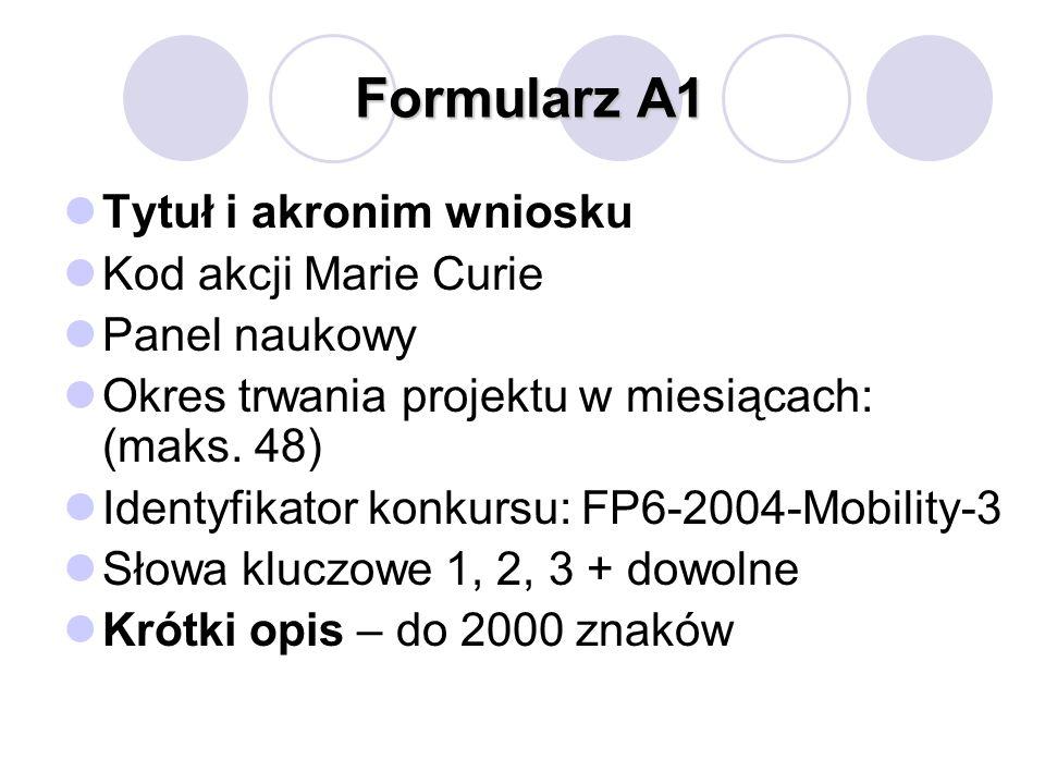 Formularz A1 Tytuł i akronim wniosku Kod akcji Marie Curie