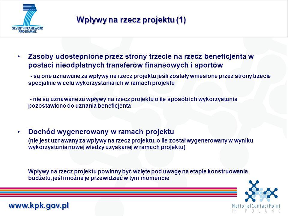 Wpływy na rzecz projektu (1)