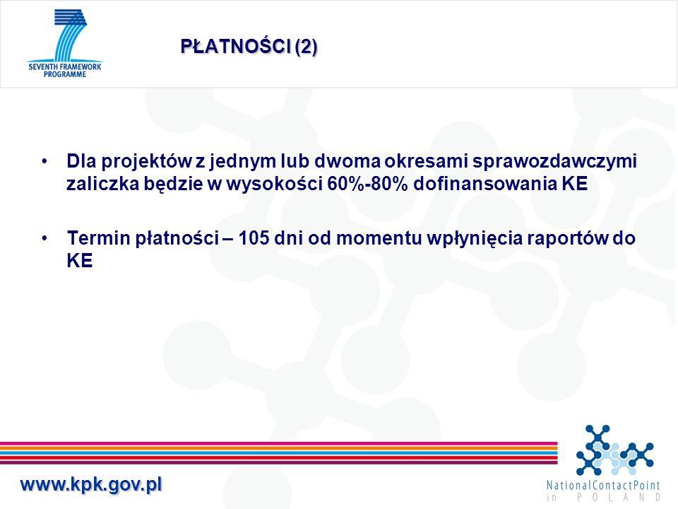 PŁATNOŚCI (2) Dla projektów z jednym lub dwoma okresami sprawozdawczymi zaliczka będzie w wysokości 60%-80% dofinansowania KE.
