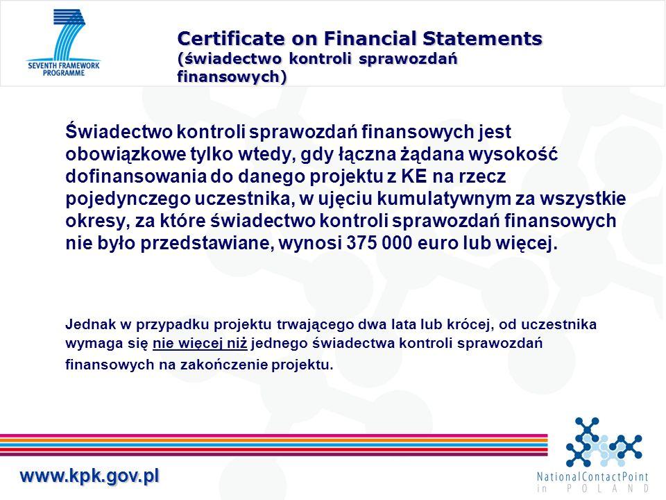 Certificate on Financial Statements (świadectwo kontroli sprawozdań finansowych)