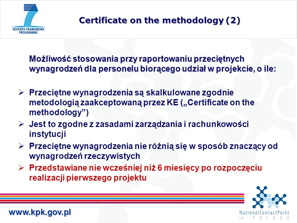 Certificate on the methodology (2)