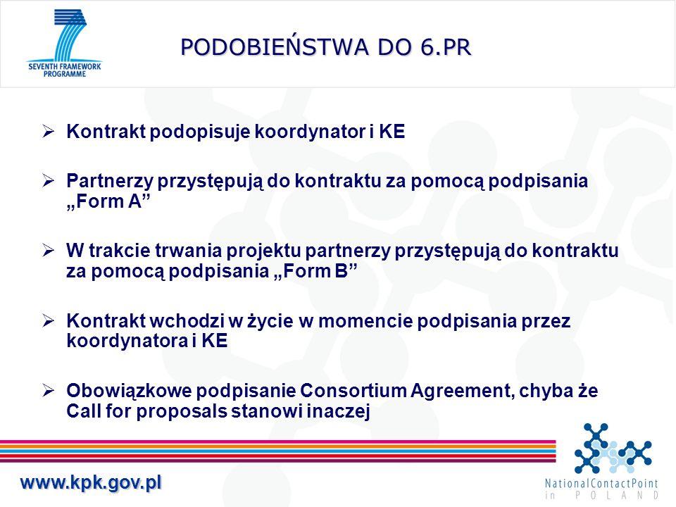 PODOBIEŃSTWA DO 6.PR Kontrakt podopisuje koordynator i KE