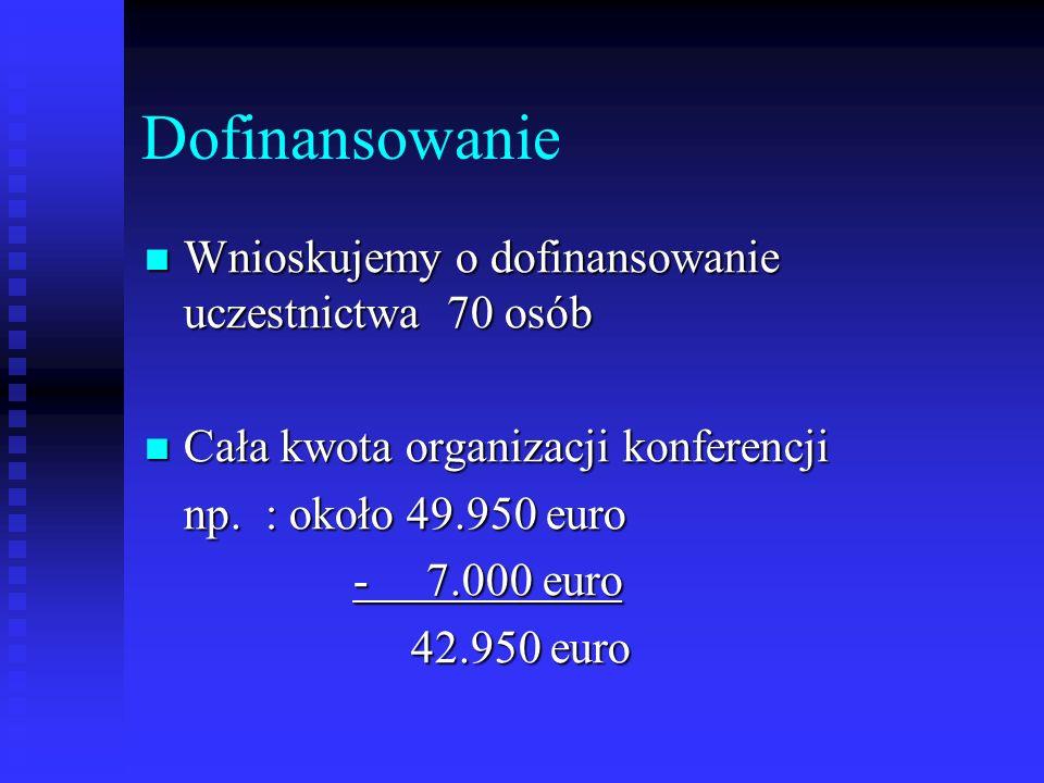 Dofinansowanie Wnioskujemy o dofinansowanie uczestnictwa 70 osób