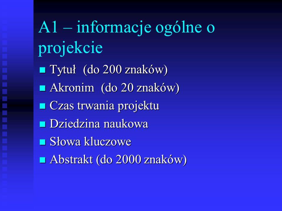 A1 – informacje ogólne o projekcie