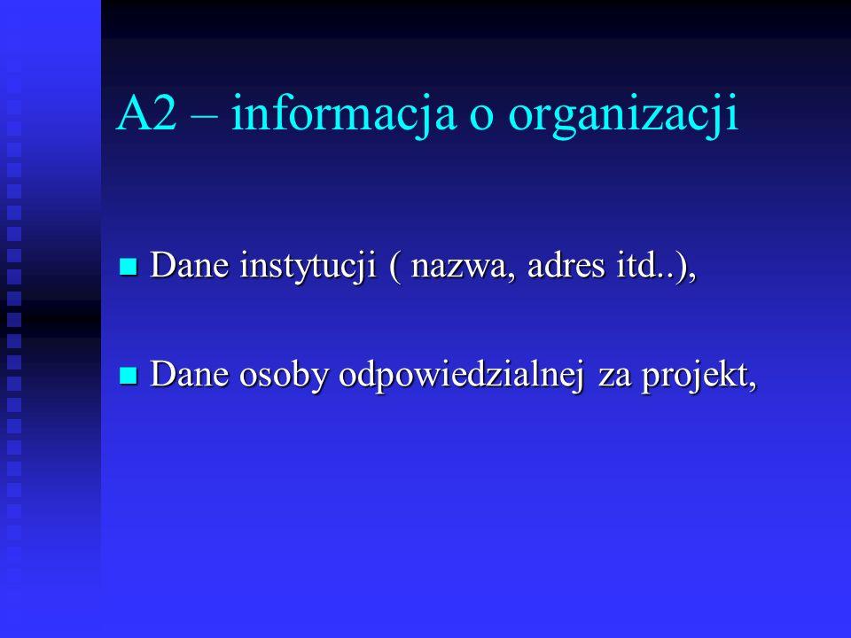 A2 – informacja o organizacji