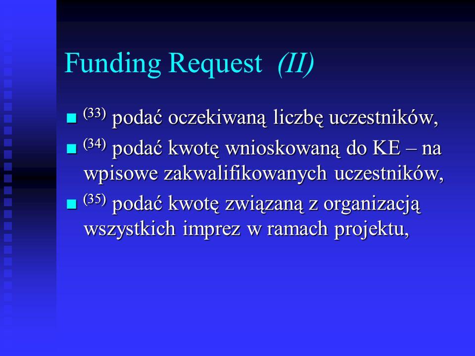 Funding Request (II) (33) podać oczekiwaną liczbę uczestników,