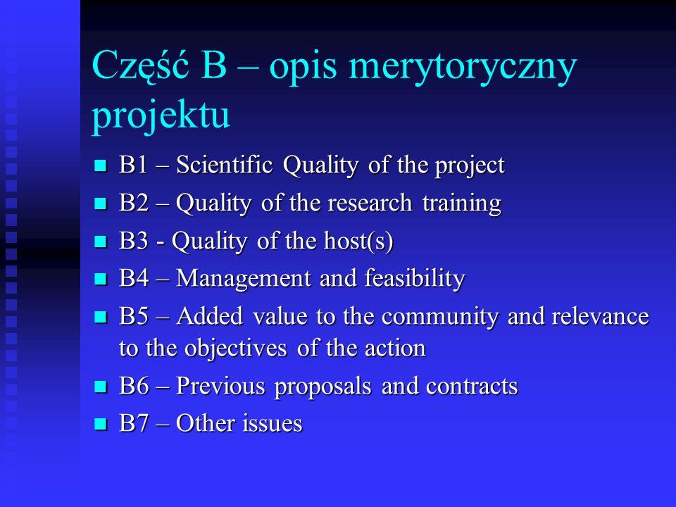 Część B – opis merytoryczny projektu