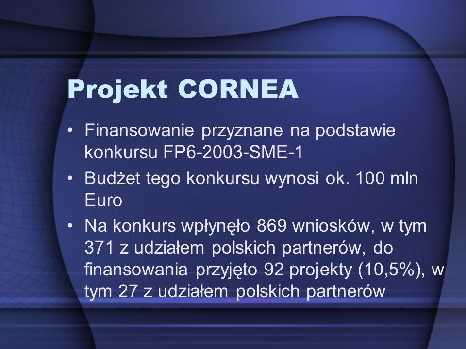 Projekt CORNEA Finansowanie przyznane na podstawie konkursu FP6-2003-SME-1. Budżet tego konkursu wynosi ok. 100 mln Euro.