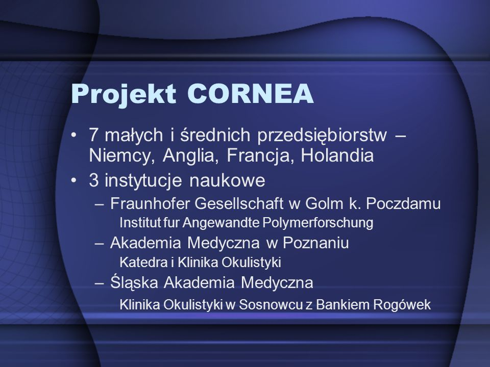 Projekt CORNEA 7 małych i średnich przedsiębiorstw – Niemcy, Anglia, Francja, Holandia. 3 instytucje naukowe.