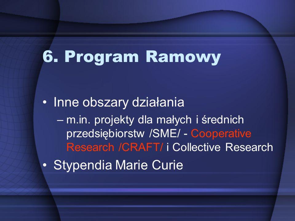 6. Program Ramowy Inne obszary działania Stypendia Marie Curie