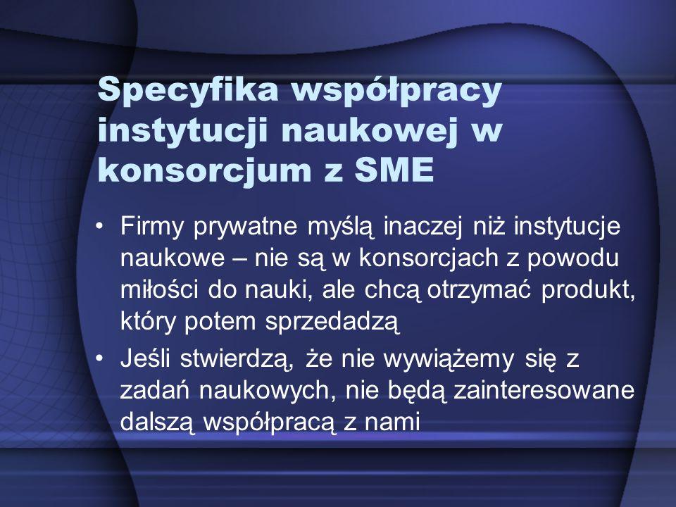 Specyfika współpracy instytucji naukowej w konsorcjum z SME