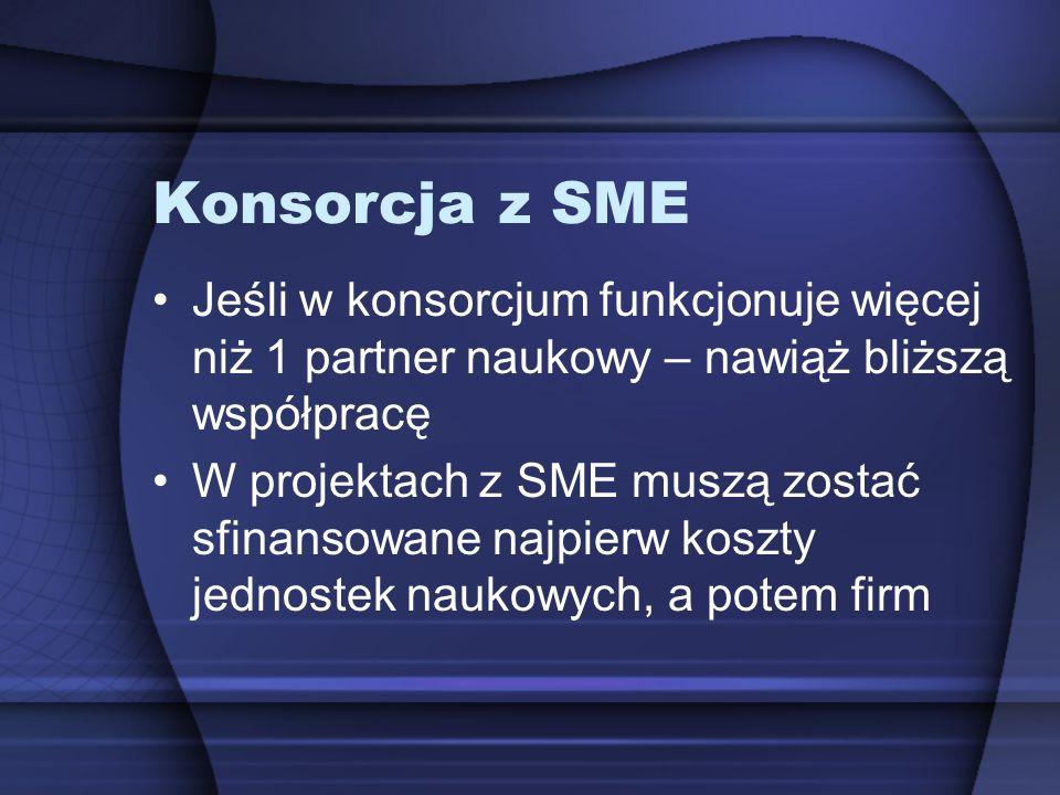 Konsorcja z SME Jeśli w konsorcjum funkcjonuje więcej niż 1 partner naukowy – nawiąż bliższą współpracę.