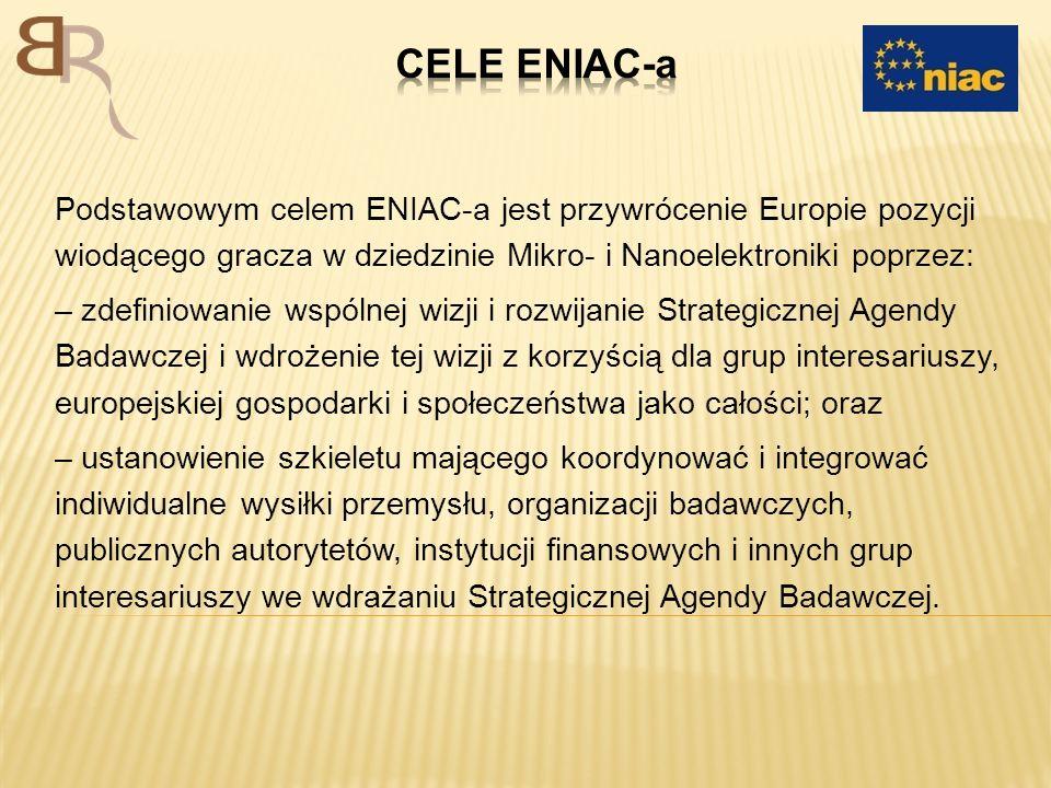 CELE ENIAC-a Podstawowym celem ENIAC-a jest przywrócenie Europie pozycji wiodącego gracza w dziedzinie Mikro- i Nanoelektroniki poprzez: