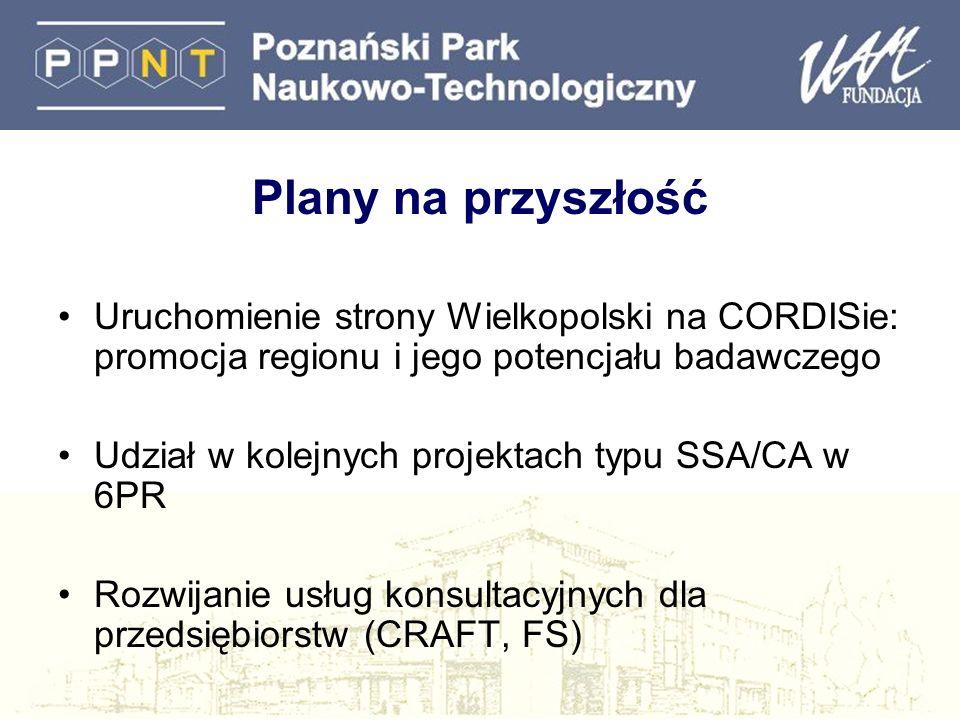 Plany na przyszłość Uruchomienie strony Wielkopolski na CORDISie: promocja regionu i jego potencjału badawczego.