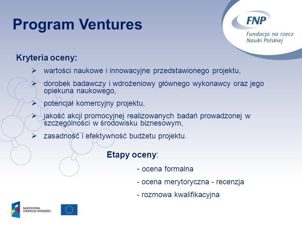 Program Ventures Kryteria oceny: - ocena formalna