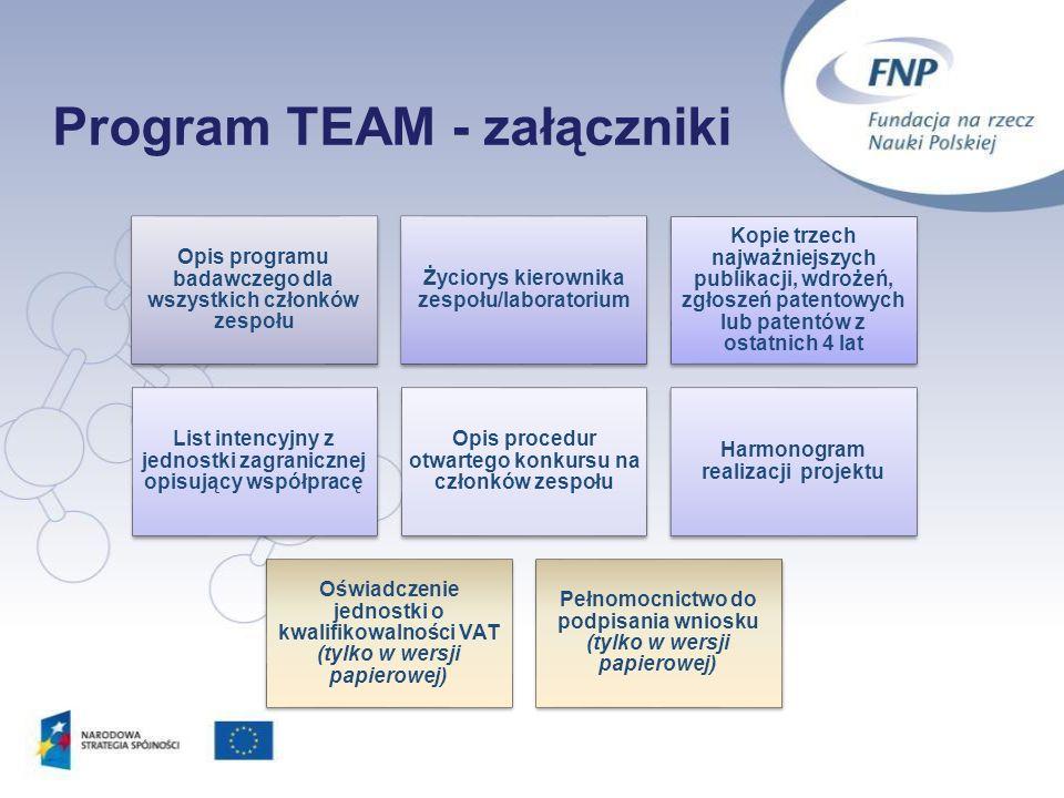 Program TEAM - załączniki