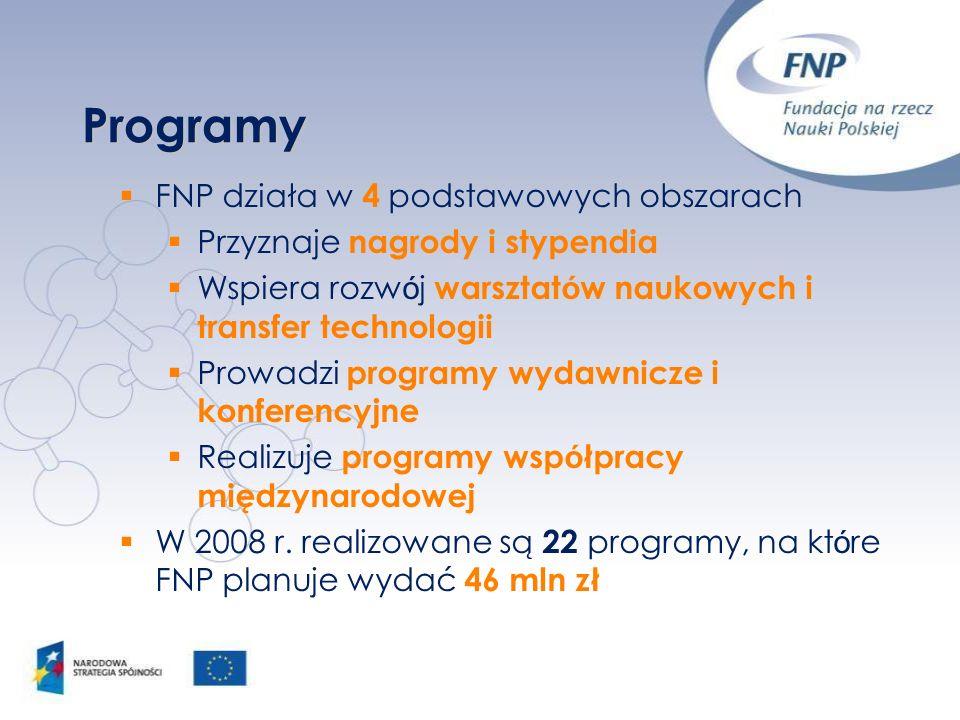 Programy FNP działa w 4 podstawowych obszarach