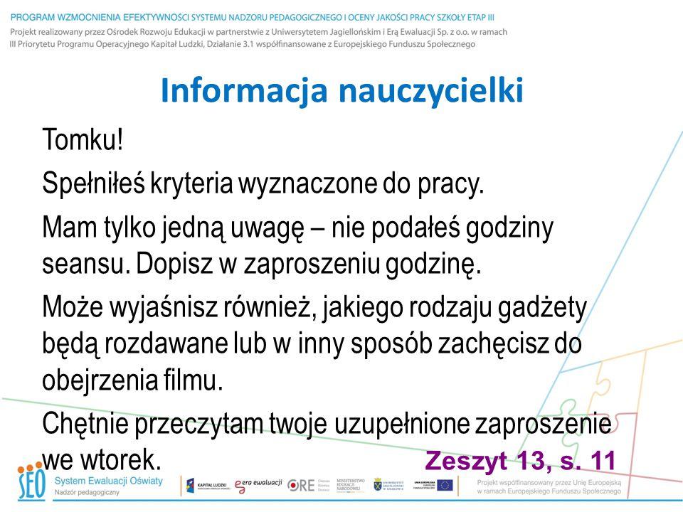 Informacja nauczycielki