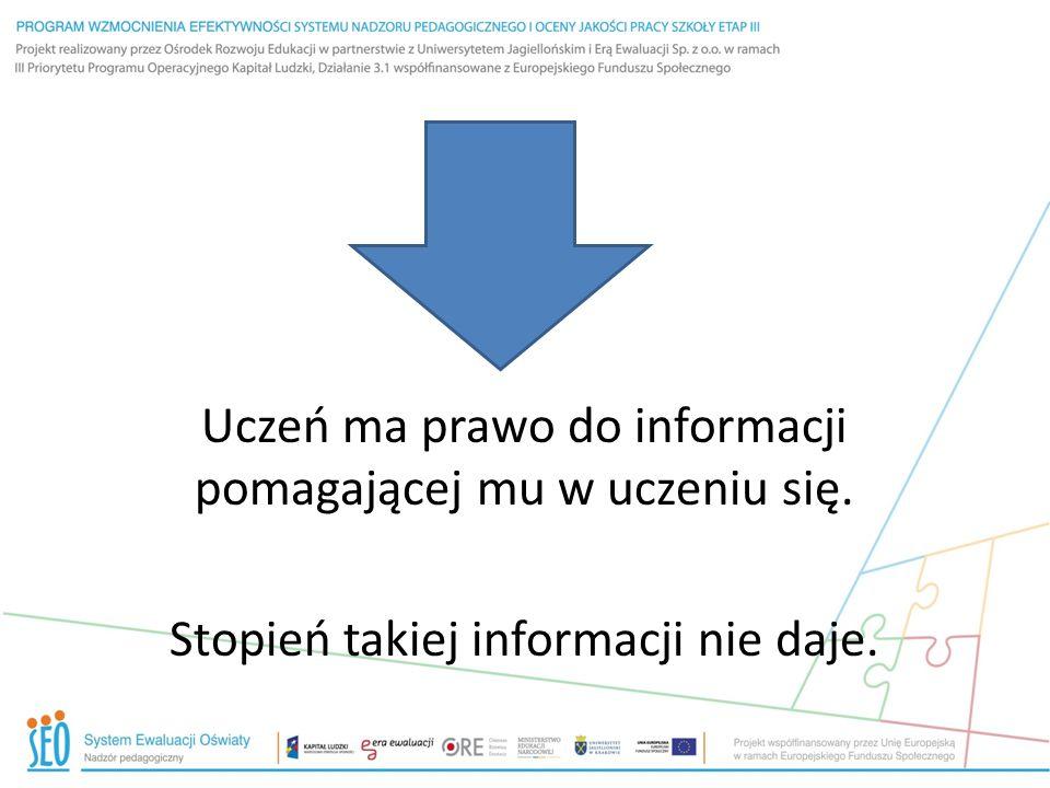 Uczeń ma prawo do informacji pomagającej mu w uczeniu się
