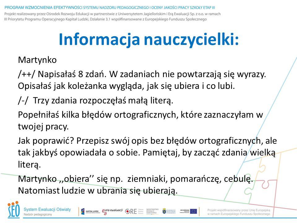 Informacja nauczycielki: