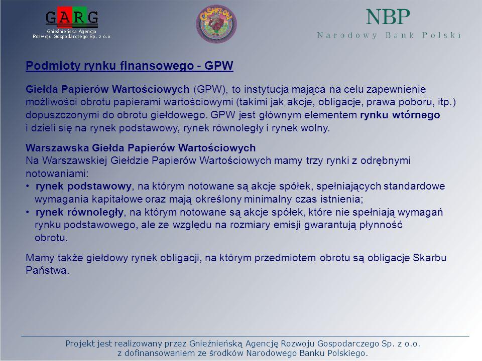 Podmioty rynku finansowego - GPW