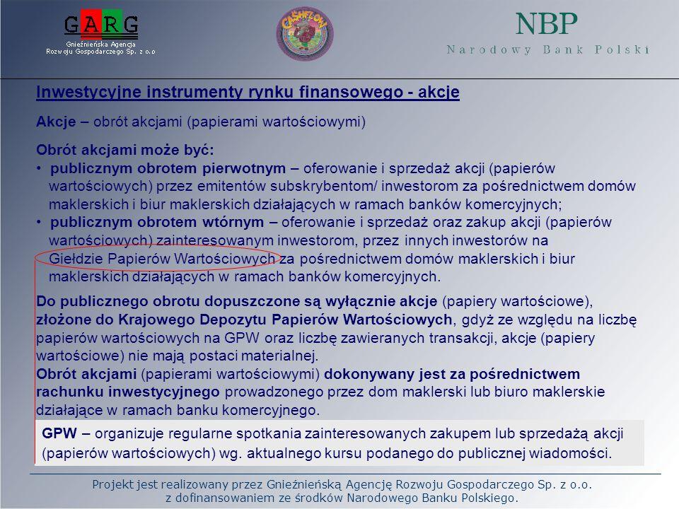 Inwestycyjne instrumenty rynku finansowego - akcje