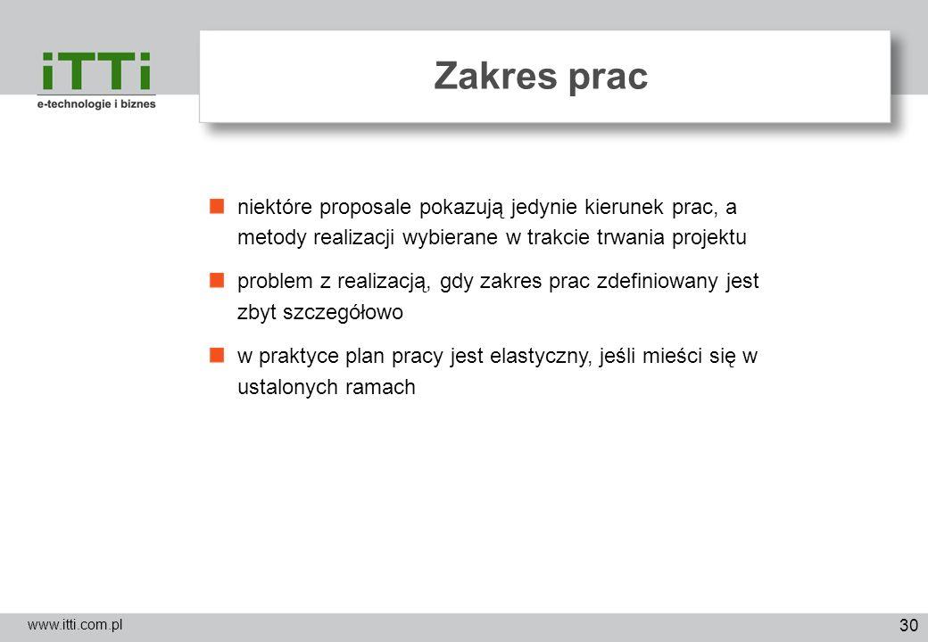 Zakres pracniektóre proposale pokazują jedynie kierunek prac, a metody realizacji wybierane w trakcie trwania projektu.