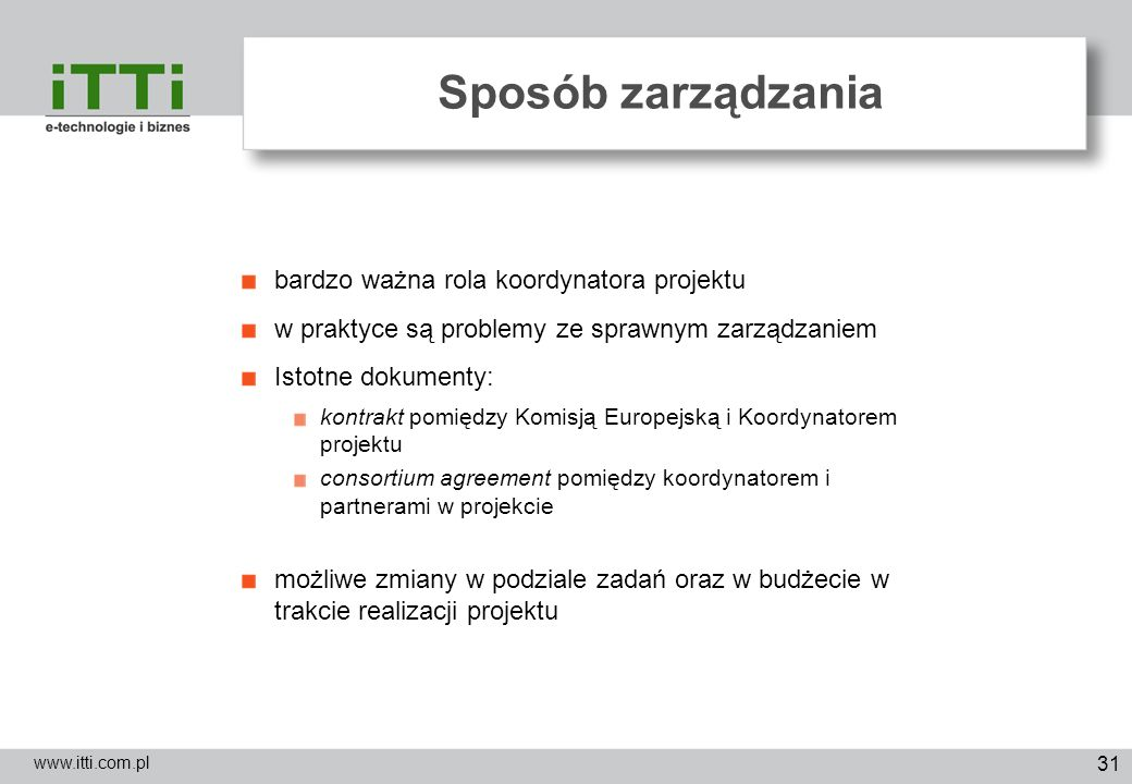 Sposób zarządzania bardzo ważna rola koordynatora projektu